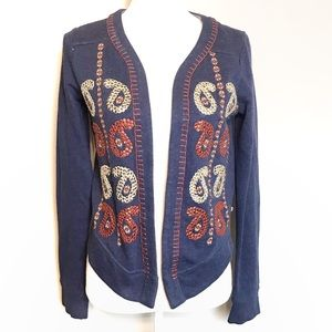 Lucky brand open front embroidered cardigan